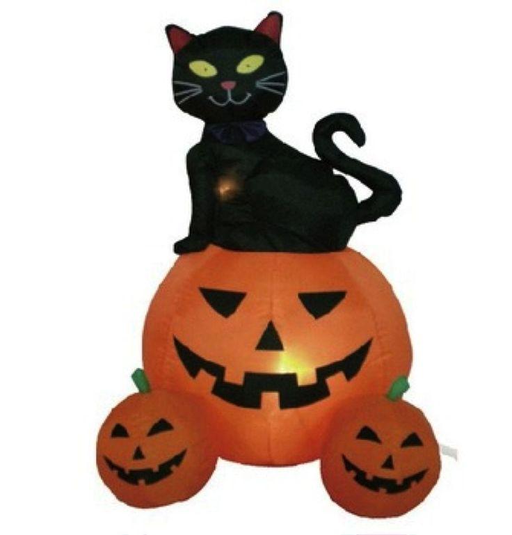 black cat halloween decoration yard lawn outside inflatable lights pumpkin - Halloween Decorations Ebay