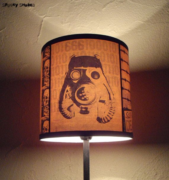 Steampunk orange lamp shade lampshade 2012 A.D.  by SpookyShades.  Yeah.....gonna need this soon.