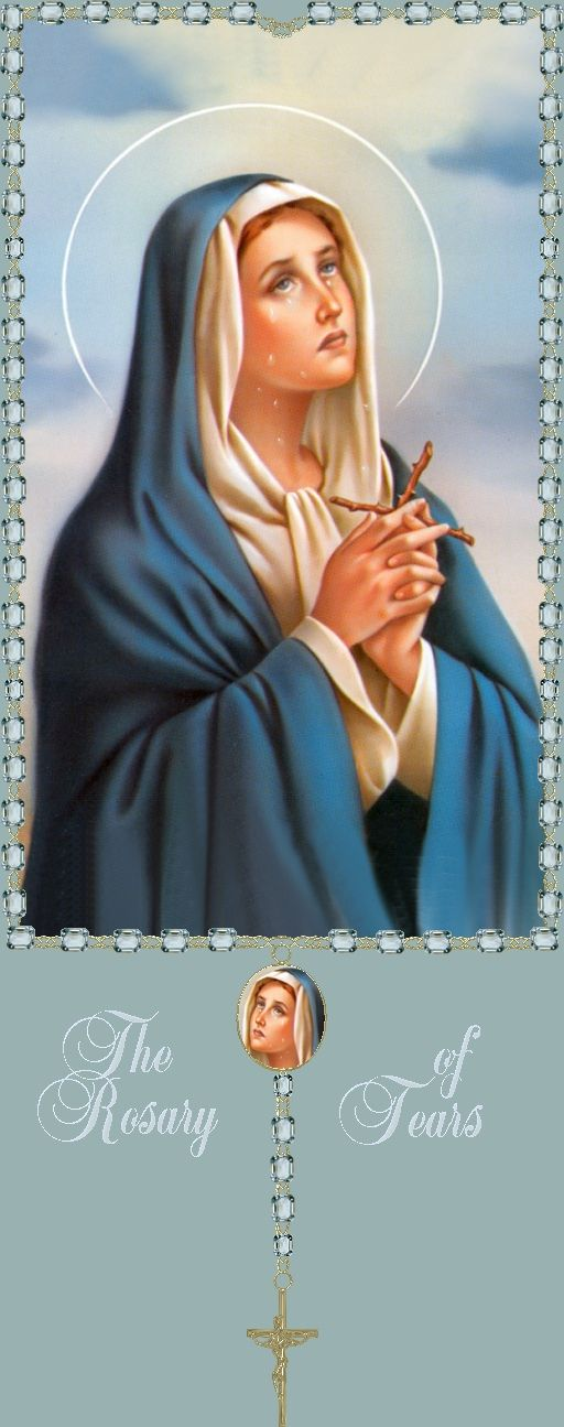 Le Chapelet des larmes de douleur de Marie ou Chapelet de Notre Dame des Larme s est un chapelet dédié aux souffrances de la Vierge Marie. Il est différent du chapelet classique, qui est plus souvent prié, il se récite sur le chapelet des sept douleurs...