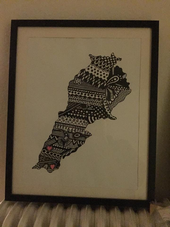 Zentangle art - Lebanon A weddinggift for a friend  #PLKdesign