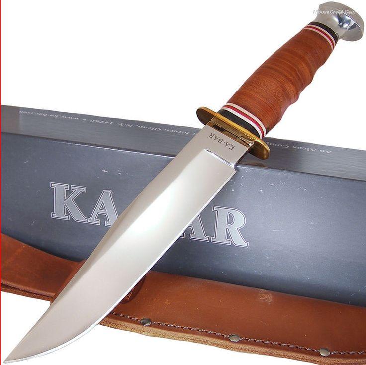 Ka-Bar Full Size Leather Handle Bowie Hunting Knife