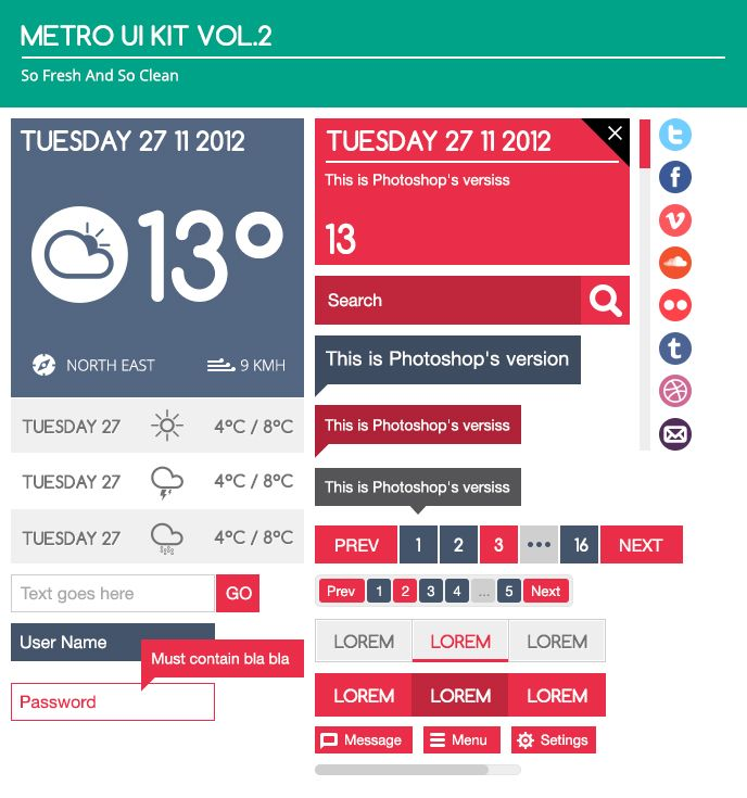 Metro UI Kit Vol.2 Free PSD