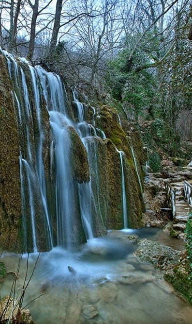 The waterfalls of Skra, entrance to the Blue Lake - Kilkis, Greece