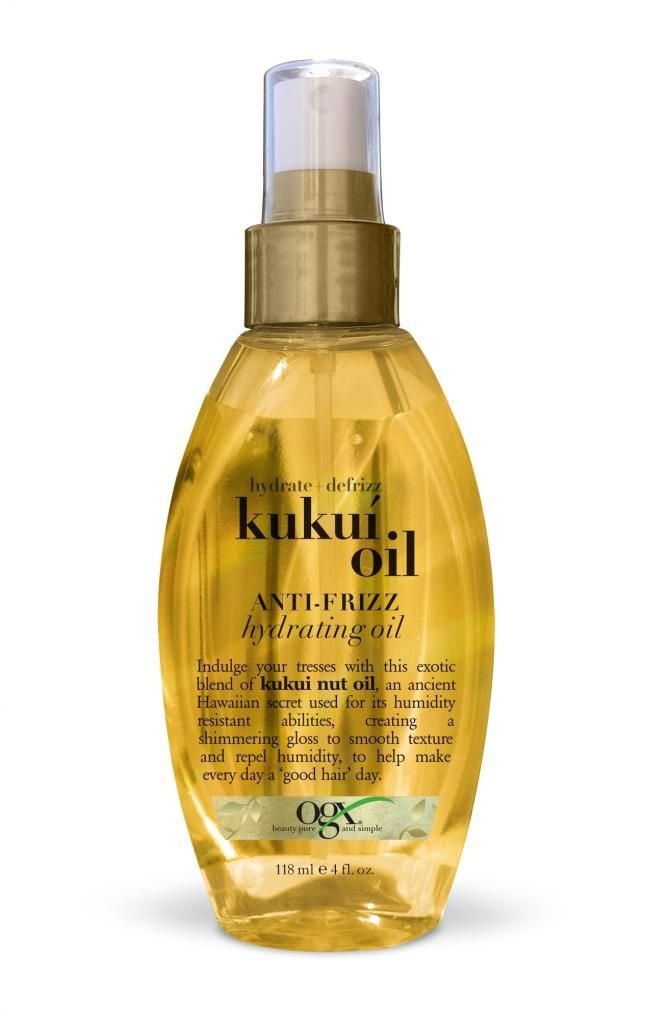 OGX Kukui Oil Anti-Frizz Hydrating Oil. tried this on a whim and my hair smells so good, is so soft and hydrated, is in the best shape it's been in a long time! says a lot since my hair has had a lot of heat damage.