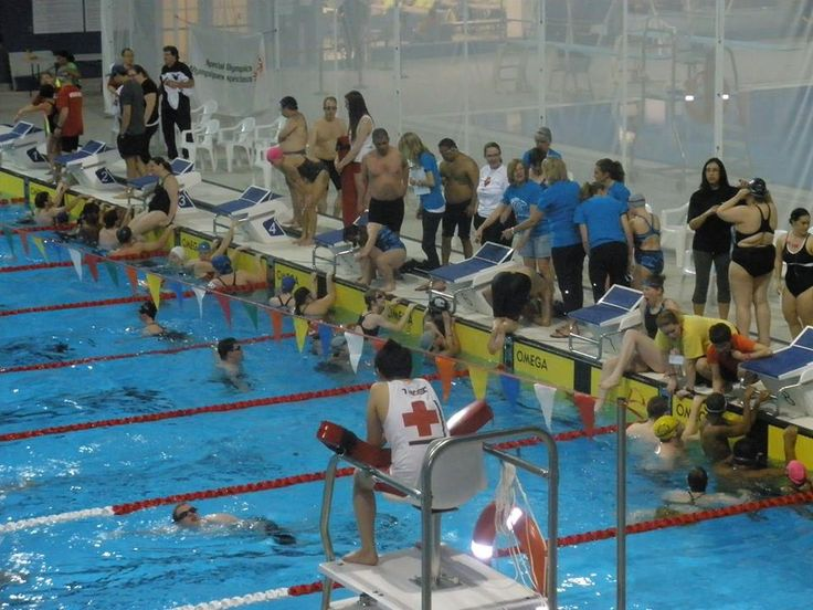 A huge gathering of swimmers