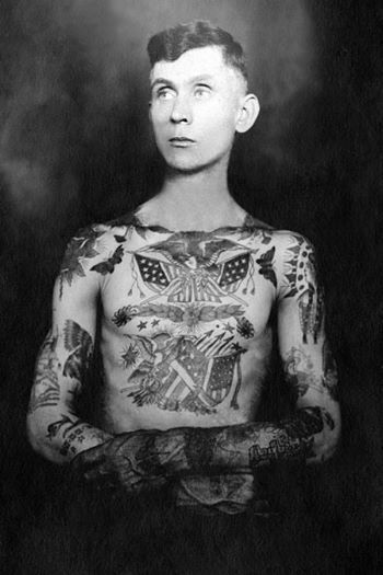 A young Willy H. Tandy who was tattooed by Sailor Jack Wills in Hopkinsville KY. circa 1930's