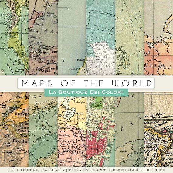 Antiguo mapas de texturas de papel digital por LaBoutiqueDeiColori