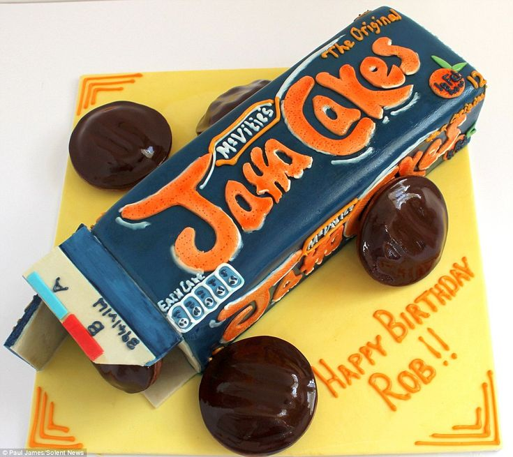 Birthday cake: A packet of Jaffa cakes that even has nutritional information and a serial number on the packet, all made with sponge and fondant icing, by Paul James of Essex