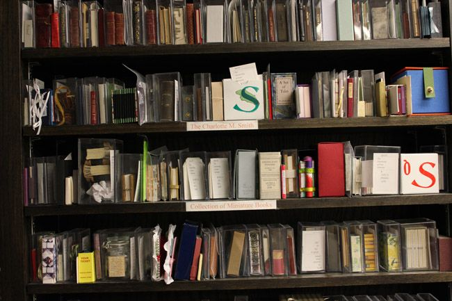 shelves of The University of Iowa library's miniature book collection (Colleen Theisen)