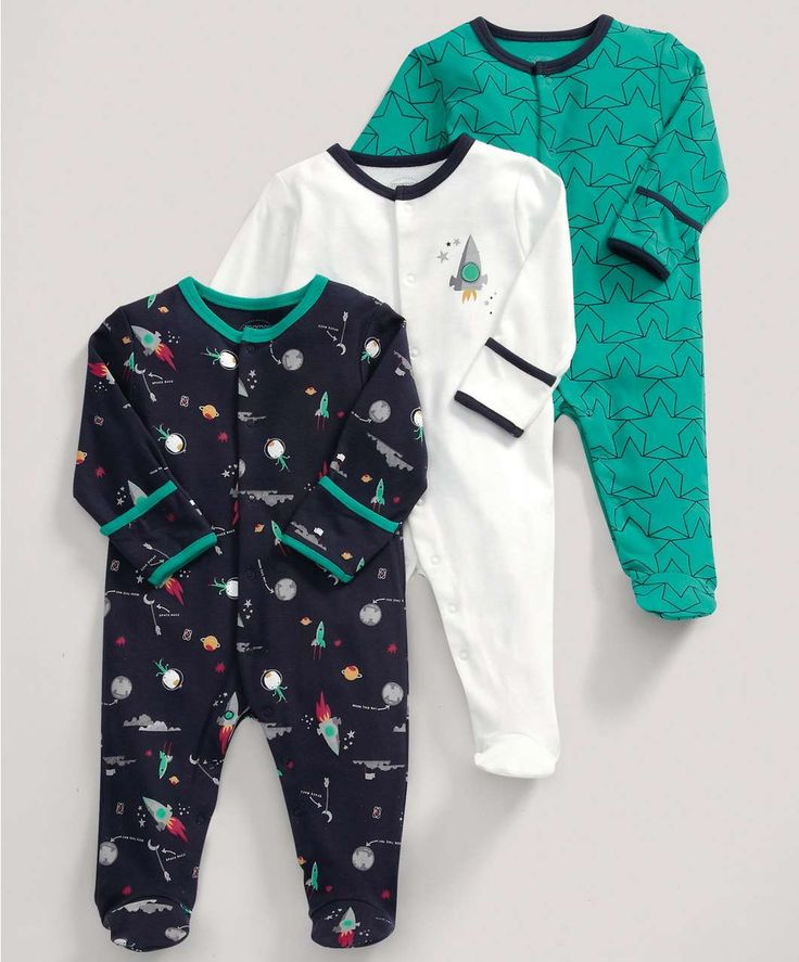£22 Boys Essentials Three Pack of Spacemen All-in-Ones - NEW Arrivals - Mamas & Papas