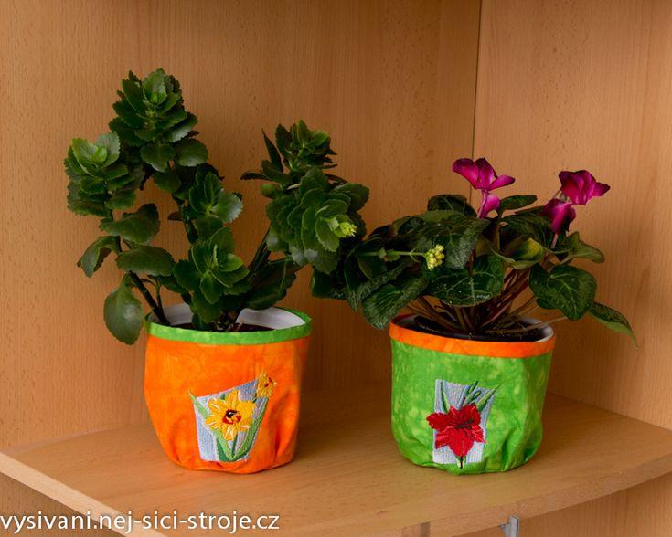 Jarní dekorace  - šité obaly na květináče