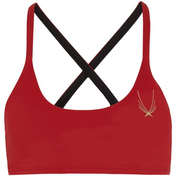 Lucas Hugh - Core Performance Stretch Sports Bra ($55) ❤ liked on Polyvore featuring activewear, sports bras, red, gold sports bra, lucas hugh, white sports bra and red sports bra