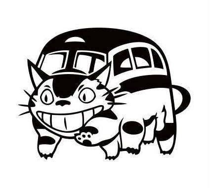 となりのトトロ ネコバス ねこばす 猫バス ステッカー シール (デカール) (ブラック)