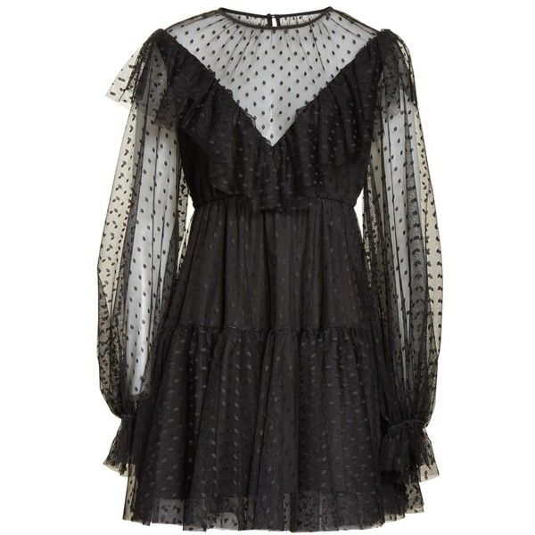 Women's Milly Dot Tulle Victorian Dress ($525) ❤ liked on Polyvore featuring dresses, black, milly cocktail dresses, dot dress, polka dot cocktail dress, little black dresses and lbd dress