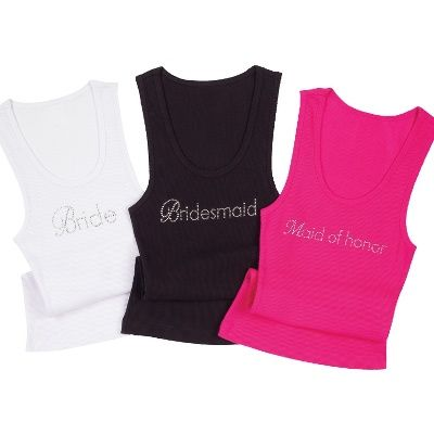 "Perfect for pre-wedding fashion fun, these 100% cotton tank tops come in your choice of three colors and feature sparkling crystals designating ""Bride,"" ""Bridesmaid,"" or ""Maid of Honor."" From Exclusively Weddings"