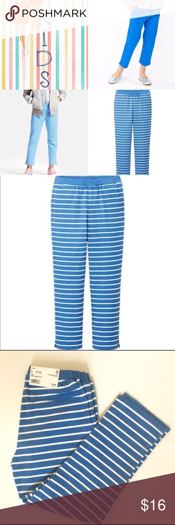 Girls Cropped Pants Girl Easy Pull up Cropped Trousers. Brand new with tags. They are stretchy so they are great for play! Front pockets and one back pocket on the left side. Stretchy waist band for easy on and off. I have various sizes please take a look at the size chart. I have dark blue ones as well in different sizes. Uniqlo Bottoms