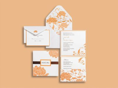 Michaels.com Wedding Department: BRIDES� Orange and White Pocket Invitations p class=