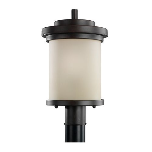 Sea Gull Lighting Modern Post Light with Beige / Cream Glass in Misted Bronze Finish | 82660-814 | Destination Lighting