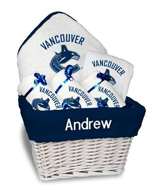 Our Personalized Vancouver Canucks Medium Gift Basket is a perfect baby gift with 3 burp cloths a bib and a towel personalized with the Canucks logo.