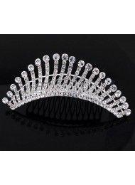 Bruids haaraccessoires bruiloft kroon hoofdtooi witte diamant kristal kroon 85…