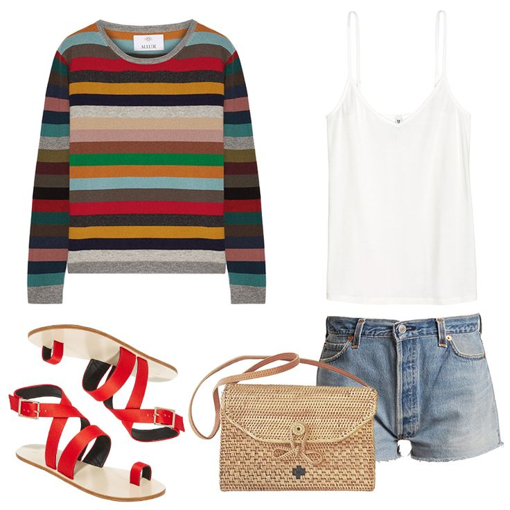 - Add a pop of color to your tank top and shorts with a brightly colored cashmere pullover tied around your waist—whenthe sun goes down, you'll have a stylish layer at the ready.