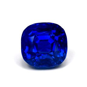 Cushion Kashmir sapphire, 3.30 ct, 7.46 x 7.28 x 6.31 mm. The deep hue of this gemstone is captured against a white background.