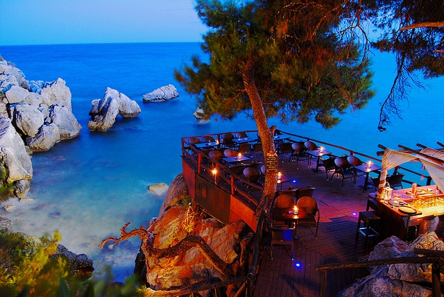 dining over the sea, Halkidiki, Greece