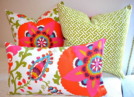 Funky Floral Pillow cover with green fretwork back in 18x18 or 20x20