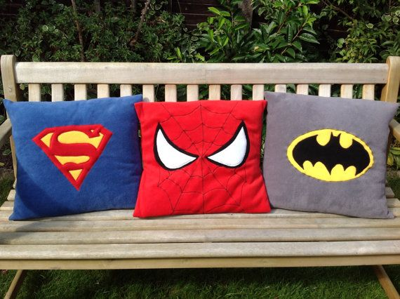 Superhero motifs on fleece pillow throw / cushion cover - classic style on Etsy, $38.00