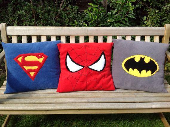 Superhero motifs on fleece pillow throw / cushion cover - classic style on Etsy, $38.00