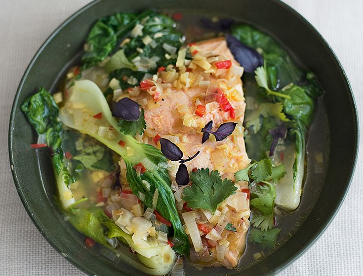 """""""This fail-safe meal is tasty, delicious, and filling. Bok Choi is a great source of vitamin A, which is vital for normal skin cell growth and development. As it is a fat-soluble vitamin, absorption is improved in this dish by the healthy omega-3 fatty acids from the salmon. A lack of vitamin A can cause rough, bumpy skin on the upper arms and thighs, a condition known as phyrnoderma (which can also be caused by a lack of essential fatty acids), so for beautifully smooth skin ready to be..."""