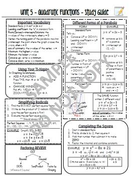 Common Core Algebra Study Guide Review Sheet Bundle - NYS Regents