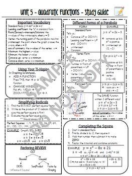 Common Core Algebra Study Guide Review Sheet Bundle - NYS Regents