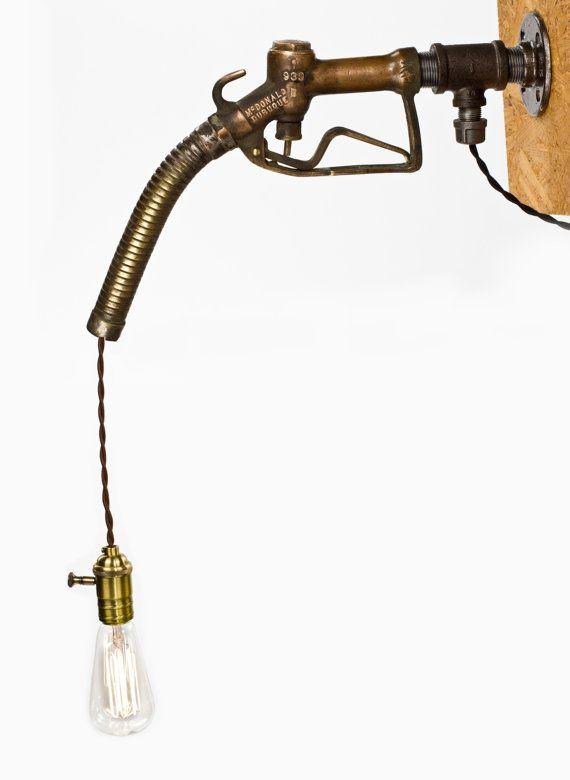 Vintage Gas Pump Nozzle Hanging Lamp by DanCordero   #Man #Cave #Garage