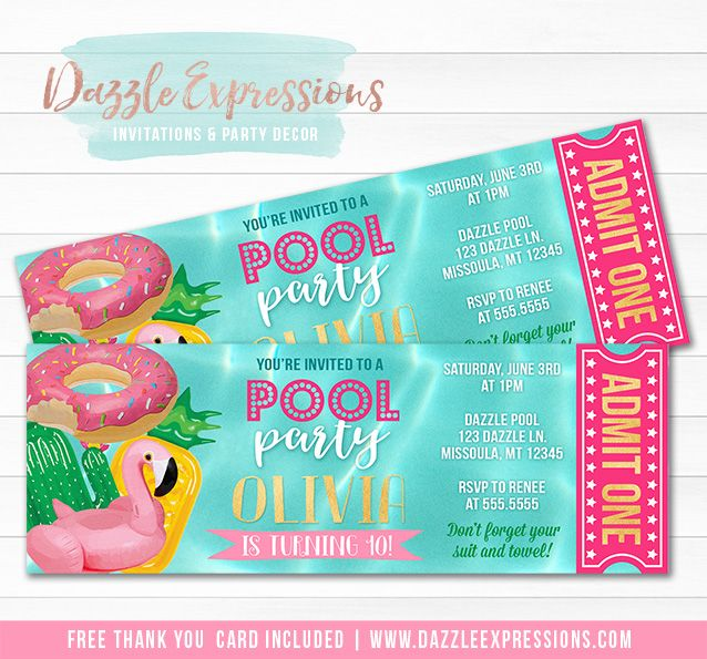 Printable Pool Float Ticket Birthday Invitation | Kids, Teen    or Adult Pool Party | End of School Party | Flamingo Floatie, Pineapple Floaty, Donut Float | Swimming | Water Park | Splash Park | Beach Party | Thank You Card | Cupcake Toppers | Favor Tag | Food Labels | Candy Bar Wrappers | Signs | Banner | Photo Props | DIY Party Package Decor