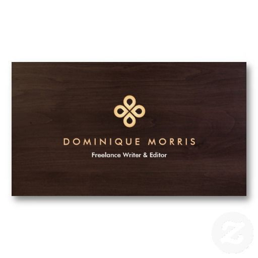 Gold clover logo on dark wood - customizable business card for authors, writers, bloggers