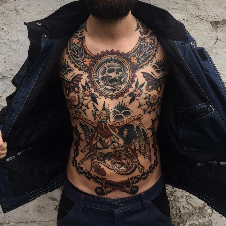 Pin By Matt Vigil On Inkedin Traditional Tattoo Traditional Chest Tattoo Tattoos