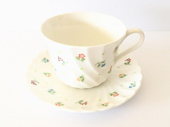 Wedgwood Cascade Tea Cup and Saucer, Bone China, Small