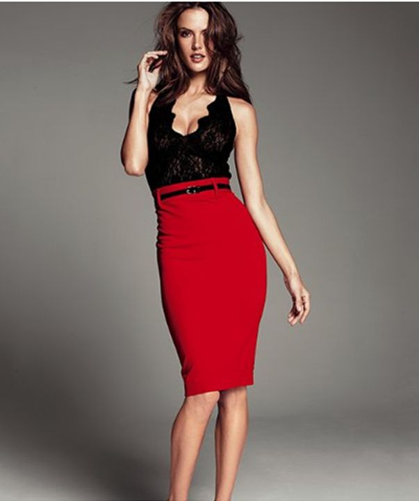 #red #pencil #skirt - shorter, above the knee lenght