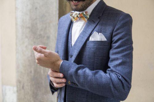 Linnèo Archivable Clothing  rustic groom  blue suit  bohochic  raw silk