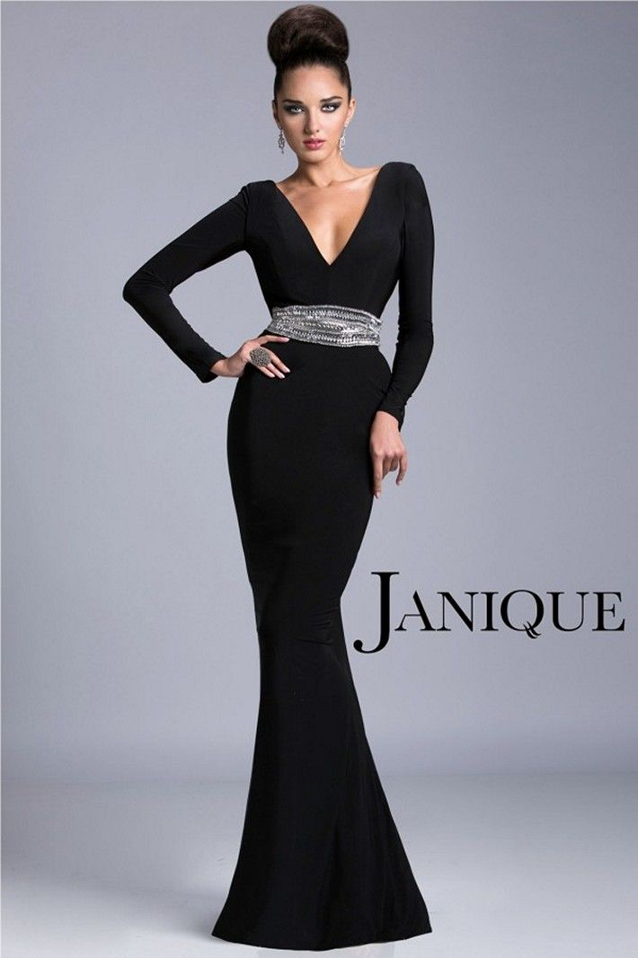 Evening Gowns Mermaid Silhouette. Janique Champagne Long Sleeve ...