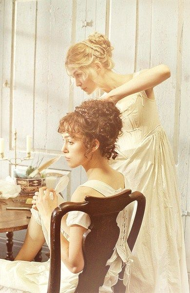 Jane & Elizabeth, Pride & Prejudice. love their hair and love this movie!!!!
