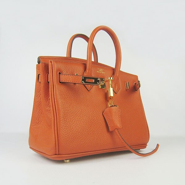 Hermes Orange 25CM Birkin Clemence Leather Bag With Gold HW Product Model: Hermes Birkin 25CM  Availability: In Stock  Color: Orange / Gold  Material: Calfskin Leather  Size: W25×H18×D13CM  Package: Hermes dust pouch, padlock, keys and key ornaments  Shipping: Free Price: $219