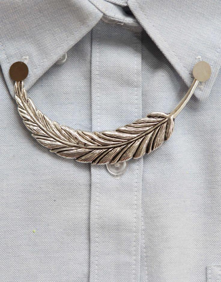 Silver Leaf Collar Pin