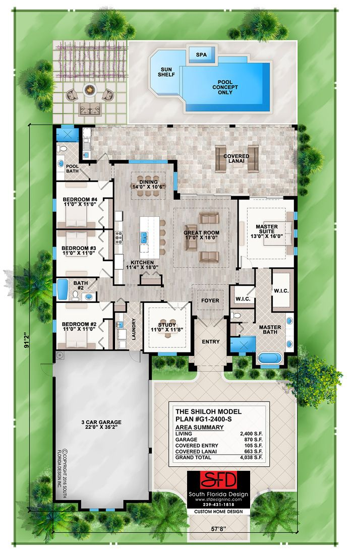 South Florida Designs Coastal Contemporary 4 Bedroom House ... on house plans florida, interior design florida, craftsman home plans florida,