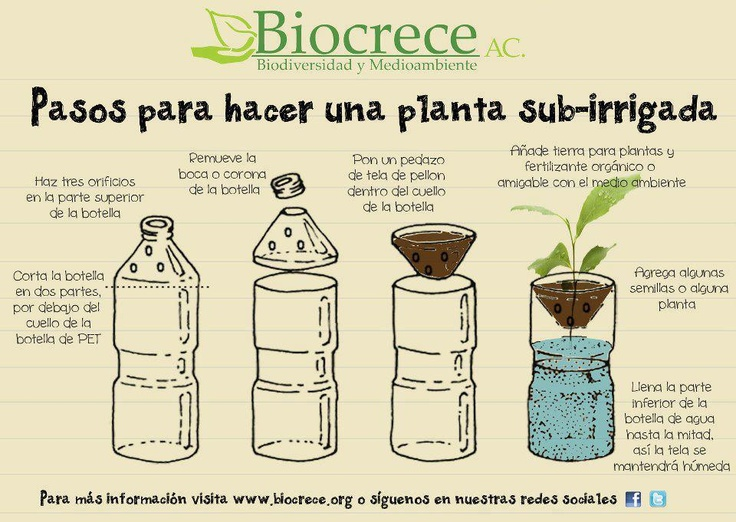 Reutilización de botellas PET para jardines/huertos sub-irrigados