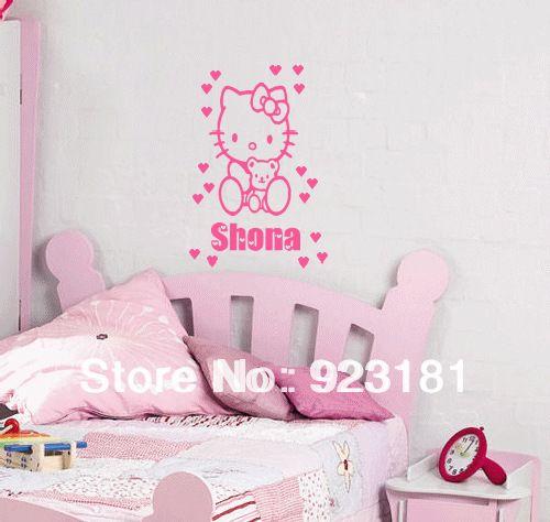 Персонализированные Пользовательские Имя HELLO KITTY Wall Art Наклейки Этикеты DIY Украшения Дома Настенная Съемный Спальня Наклейки 30x20 см