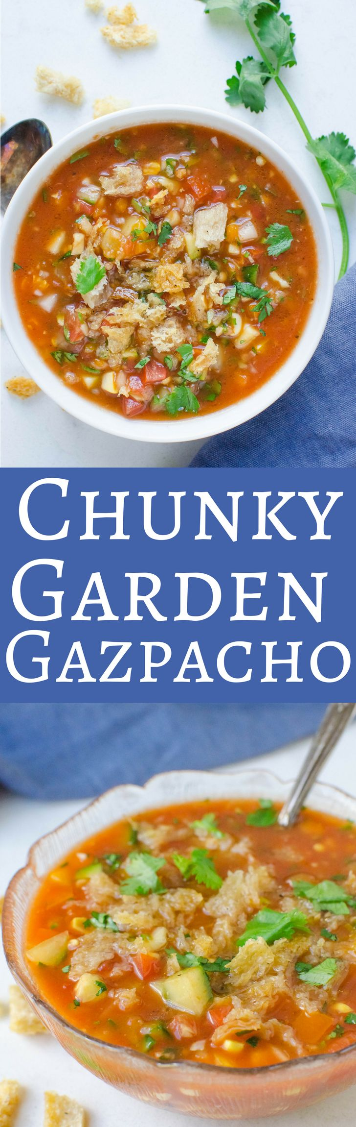 Loaded with veggies, this easy gazpacho recipe is cool and refreshing!  Perfect for summer! via @GarlicandZest
