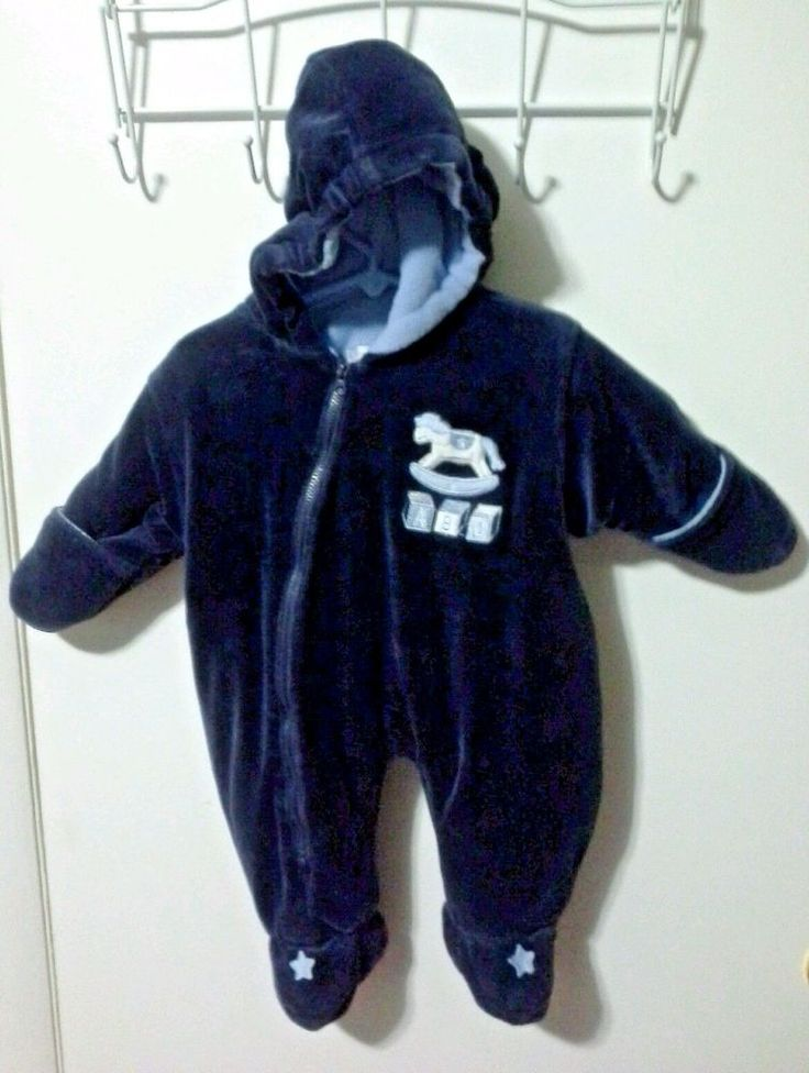 """""""Cotton Candy""""  Baby Snow Suit Bunting Suit 6 - 9 months Navy Blue One Piece…"""