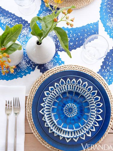 Blue and white plates are a great choice for a festive tablescape.
